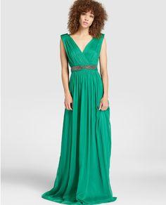 Vestido de mujer Easy Wear verde con cinturón de strass