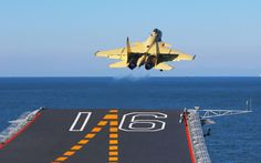 Chinese J-15 Flying Shark take off from Aircraft Carrier Liaoning