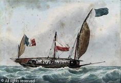 "ROUX Antoine Joseph Ange, 1765-1835  - ""A crowded French xebec in the Mediterranean"".    Pencil, pen and brown ink and watercolour, on paper"