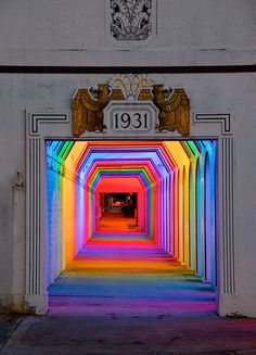Spectacular spectrum of light in a Birmingham underpass! 'Light Rails' is a permanent LED light art installation in Birmingham, Alabama by artist Bill FitzGibbons. Instalation Art, Rainbow Light, Rainbow Art, Rainbow Room, Neon Rainbow, Light Rail, Art Design, Interior Design, Interior Decorating