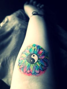 YINGYANG-SUNFLOWER-WATERCOLOR TATTOO