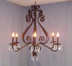 Wrought Iron Chandeliers Rustic | WROUGHT IRON & ANTLER CHANDELIERS & LIGHTING Rustic, Tuscan, Antique ...