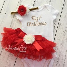 1st Christmas Set GOLD or SILVER bodysuit, red ivory flower glitter headband bow, tutu skirt bloomers newborn infant toddler baby girl First Santa Outfit by HoneyLove Boutique