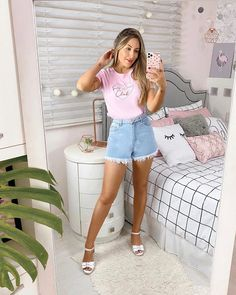 Girl Fashion, Fashion Looks, Tumblr Outfits, Looks Chic, Pretty Outfits, New Look, Denim Skirt, Street Style, Shirt Dress