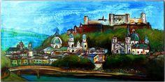 BURGSTALLER ORIGINAL Gemälde Kunst Malerei Acrylbild Leinwand Bilder SALZBURG