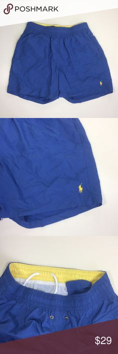 "Hawaiian 5"" Swim Boxer - China Blue/Sunfish Yellow Polo swim boxers, EUC. 5"" inseam. Size Small. Side pockets, Velcro back pocket, and inner waist pocket. Drawstring waist. Lined. Shell: 100% nylon; liner: 100% polyester. 27""-32"" waist (relaxed vs stretched a reasonable amount). Polo by Ralph Lauren Swim Swim Trunks"