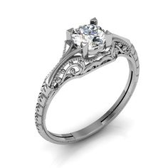 Filigree Diamond Engagement Ring Vintage Solitaire Ring