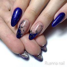 Elegant Nail Designs, French Nail Designs, Nail Art Designs, Fabulous Nails, Gorgeous Nails, Nail Ink, Nail Swag, Blue Nails, French Nails