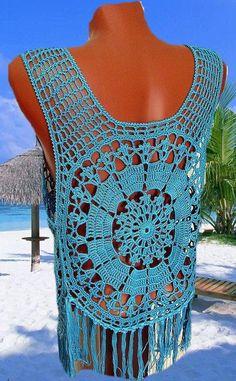 Crochet top crochet beach top crochet fashion crochet Source by sevgiozari Crochet Shrug Pattern, Crochet Coat, Crochet Blouse, Crochet Clothes, Crochet Lace, Crochet Patterns, Crochet Tank Tops, Crochet Projects, Etsy