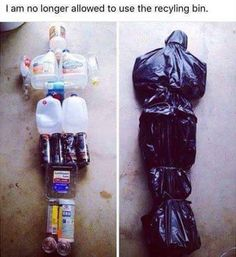 Body Bag out of recycles (Originally found on https://www.facebook.com/TheLifeAndTimesOfARealCsi/photos/a.147636468746001.1073741829.147566745419640/598842120292098/?type=3&theater)