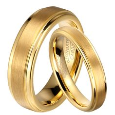 1 Pair Gold Plated Tungsten Carbide Wedding Band Rings Set for Him and Her 6mm for Men 4mm for Women Brushed Finish-in Rings from Jewelry & Accessories on Aliexpress.com   Alibaba Group
