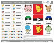 Pokemon  Your personal waterproof labels 68 Qty Free