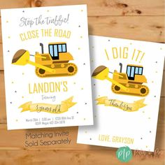 This Digger Construction Birthday Thank You Card is perfect way to thank party guests for attending your sons construction birthday party. The excavator is the perfect construction vehicle to tell birthday party guests I dig it! Construction Party Decorations, Construction Birthday Parties, Construction Birthday Invitations, Birthday Thank You Cards, Happy Birthday Banners, 1st Boy Birthday, Boy Birthday Parties, Banner Printing, First Birthdays
