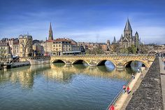 Moselle River & Protestant Temple (Metz - North of Nancy)