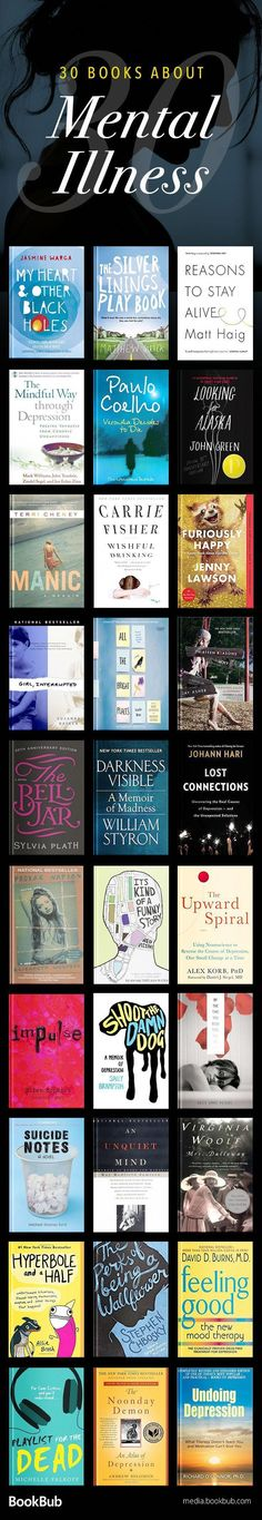 Powerful Books About Depression 30 books about mental illness, depression, and anxiety. Including a mix of both inspirational and sad books about mental illness, depression, and anxiety. Including a mix of both inspirational and sad books. Up Book, Book Club Books, Book Nerd, I Love Books, Good Books, Books To Read, Big Books, Reading Lists, Book Lists