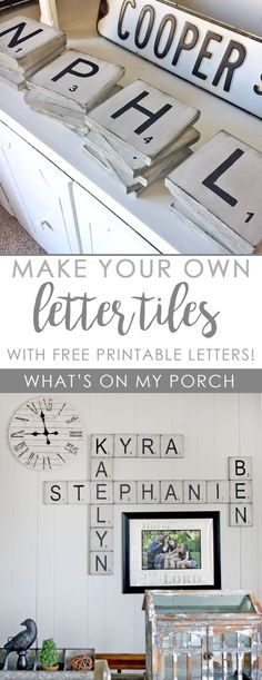 Cute Dorm Rooms, Cool Rooms, Kids Rooms, Scrabble Wall Art, Letter Wall Decor, Crafts With Scrabble Tiles, Decorative Letters For Wall, Scrabble Letter Crafts, Farmhouse Side Table