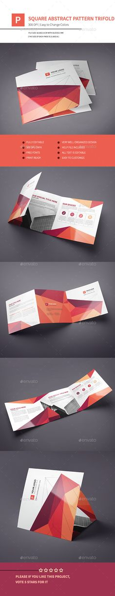 Square Abstract Pattern Trifold Template #design Download: http://graphicriver.net/item/square-abstract-pattern-trifold/12420699?ref=ksioks
