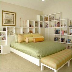 beautiful cubby shelf headboard and wall feature