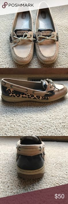 Sperry Top Sider Neautral leather. Leopard hair on sides. Brown patent accents . Worn a handful of times Sperry Top-Sider Shoes Flats & Loafers