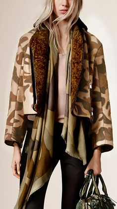 Burberry Camel Camouflage Print Stretch Camel Blend Jacket - A cropped jacket in a camel hair and wool blend with slight stretch for comfort.  The design features a camouflage print inspired by the A/W15 runway.  Discover the women's outerwear collection at Burberry.com