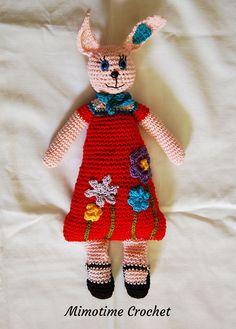 Doudou Lapin Joséphine et ses jolies fleurs fait au crochet : Jeux, peluches, doudous par mimotime