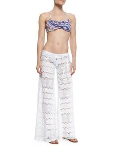 Femme Printed Bandeau Swim Top, Bottom & Wide-Leg Lace Coverup Pants by Letarte at Neiman Marcus.