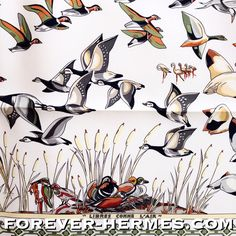 """Another favorite by French Artist Annie Faivre for Hermes Paris titled """"Libres comme l'Air"""" meaning """"Free like the air"""" is now in store http://forever-hermes.com featuring flock of birds #duck #geese #stork #flamingo #waterbird and reminds of the same style scarf bat features corals & fishes titled Rencontre Oceane. #Hermes Paris #hermesscarf #hermescollector #scarf #mensfashion #MensSuit #mensnecktie #womensfashion"""