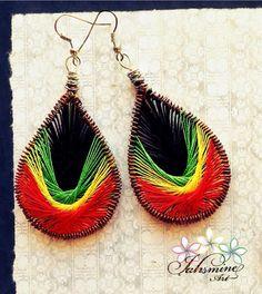 Peruvian Etnic Threads Rasta Colors Earrings por JahsmineArt