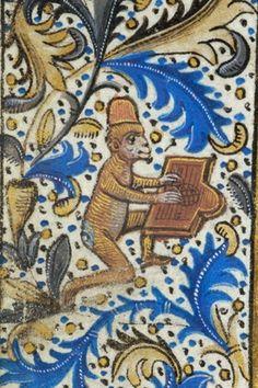 Monkey playing the dulcimer, MS H.7, fol. 58v, c. 1470. Pierpont Morgan Library.