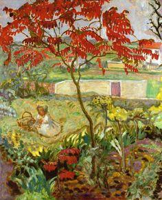 Garden with Red Tree - Pierre Bonnard