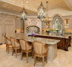 Lovely double island Tuscan kitchen | Ft. Bend Lifestyles ᘡղbᘠ