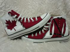 Hetalia Canada Hand Painted Converse by ReincarnateShoes on Etsy Painted Converse, Painted Shoes, I Am Canadian, Birthday Week, Canada Eh, Long Winter, Cool Countries, Converse Chuck Taylor All Star, Hetalia