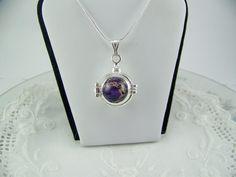 Purple Imperial Jasper Locket Jasper Necklace by CreatedinTheWoods