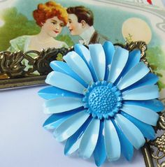 Baby Blue Retro Daisy Enamel Flower by normajeanscloset on Etsy, $16.99