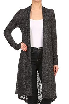 ReneeC. Women's Long Sleeve Open Front Draped Knit Cardigan. Made in USA. S-3XL. Long cardigan. Great with leggings.