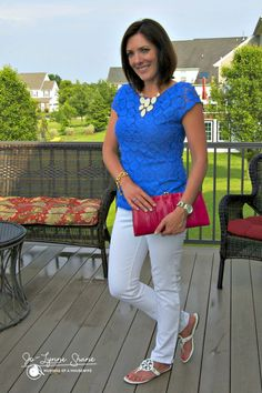 Fashion Over 40 | Daily Mom Style 06.11.14 - White jeans are always a good idea in the summertime. I paired them with this royal blue top from Banana Republic (last year).