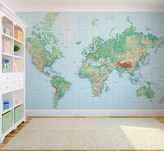 World map wallpaper mural wallpaper murals wallpaper and playrooms gumiabroncs Choice Image