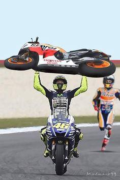 Hey Marc I've got your bike amigo Gp Moto, Moto Bike, Motorcycle Bike, Vale Rossi, Motorcycle Memes, Valentino Rossi 46, Biker Boys, Cycling Art, Bike Art