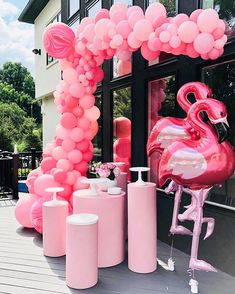 Maybe it's a girly girl's thing, but we can never have enough glam, pink, or flamingos! And we're so thrilled this party came out this way. The balloon feature certainly stopped the show in every shade of pink you could think of or imagine! Pink Flamingo Party, Flamingo Baby Shower, Flamingo Birthday, Flamingo Pool, Pink Flamingos, Pool Party Decorations, Birthday Decorations, Pool Party Themes, Lingerie Party Decorations