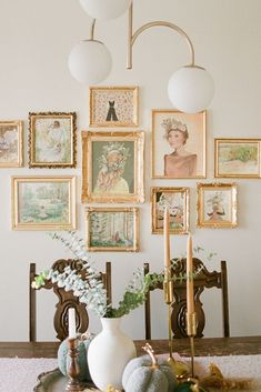 Golden Gallery Wall of Art by Jaime Arlene. Art Gallery Wall DIY, Home decor ideas with art. Cohesive art gallery for home decor. Modern Victorian Style home decor