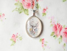 Vintage Deer Necklace, Deer Necklace, Deer Pendant, Deer Cabochon, Women Gift, Glass Cabochon, Pretty Necklace, Retro Deer, Gift Idea