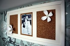 Put cork board in photo frame for cute memo board