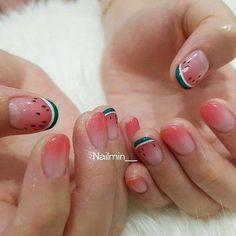 Watermelon Nail Korean Style l Heart Nail Art, Heart Nails, Classy Nail Designs, Nail Art Designs, Crazy Nails, My Nails, Watermelon Nails, Minimalist Nails, Stamping Plates