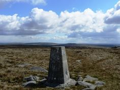 The eastern one of two trig points on the top of Ward's Stone.
