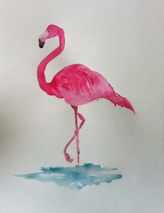 Flamingo in watercolour. Love these colours.