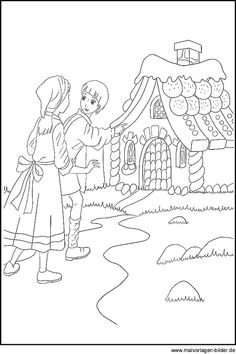 Coloring page and coloring picture of Hansel and Gretel - Coloring page and coloring picture of Hansel and Gretel - Science Center Preschool, Preschool Crafts, Crafts For Kids, Sand Crafts, Paper Crafts, Fairy Tale Crafts, Kindergarten Portfolio, Hansel Y Gretel, Printable Crafts