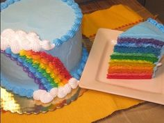 How to Decorate a Rainbow Cake , video  i like the idea of using rainbow icing colors in addition to the rainbow cakes