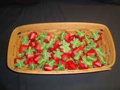 favor printables...strawberry shaped box and strawberry themed favor bag tutorials