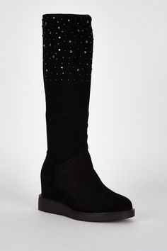 Black Suedette Diamante Detail Hidden Wedge Boots