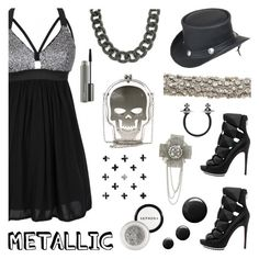"""""""Heavy Metal"""" by deepwinter ❤ liked on Polyvore featuring Carven, Alexandre Birman, Overland Sheepskin Co., Bling Jewelry, Vivienne Westwood, MAC Cosmetics and metallicdress"""